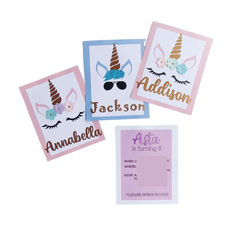 Hand Crafted Unicorn Invitations