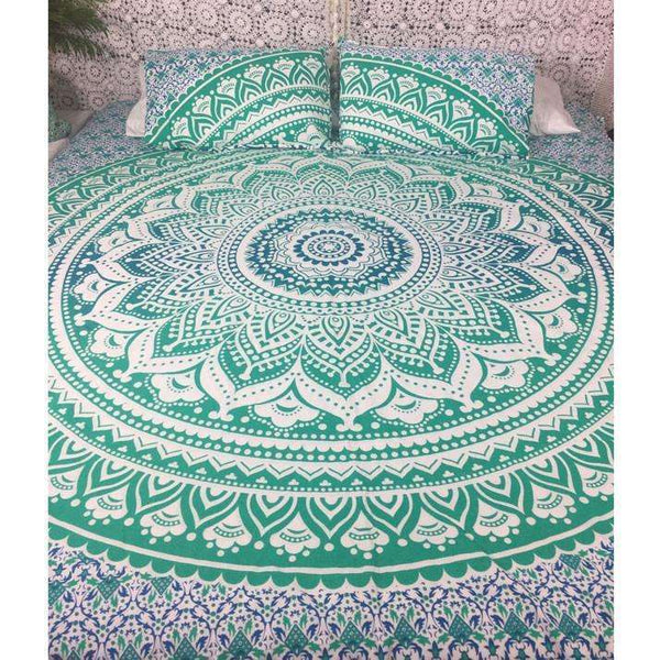 Turquoise Ombre Mandala Doona Cover Set (Queen & King)