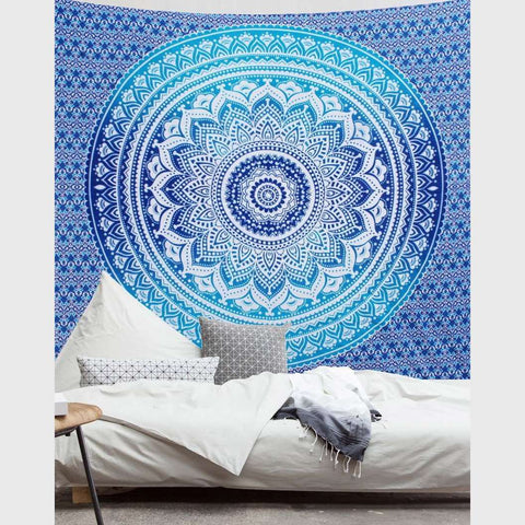 Blue Ombre Mandala Tapestry