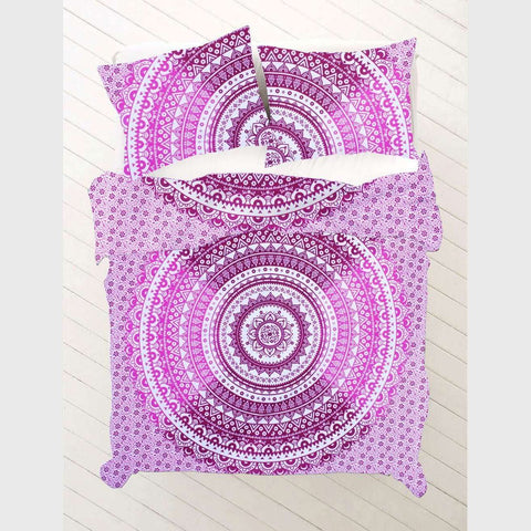 Pink & Purple Ombre Mandala Doona Cover Set  - (Queen & King)