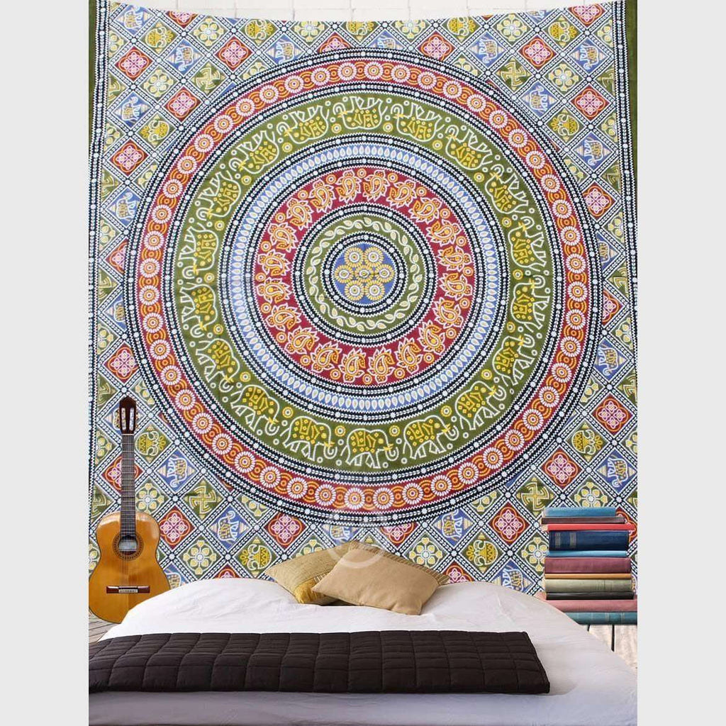 Native Elephants Mandala Tapestry