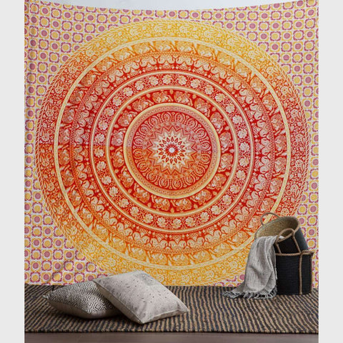 Orange Ombre Mandala Tapestry