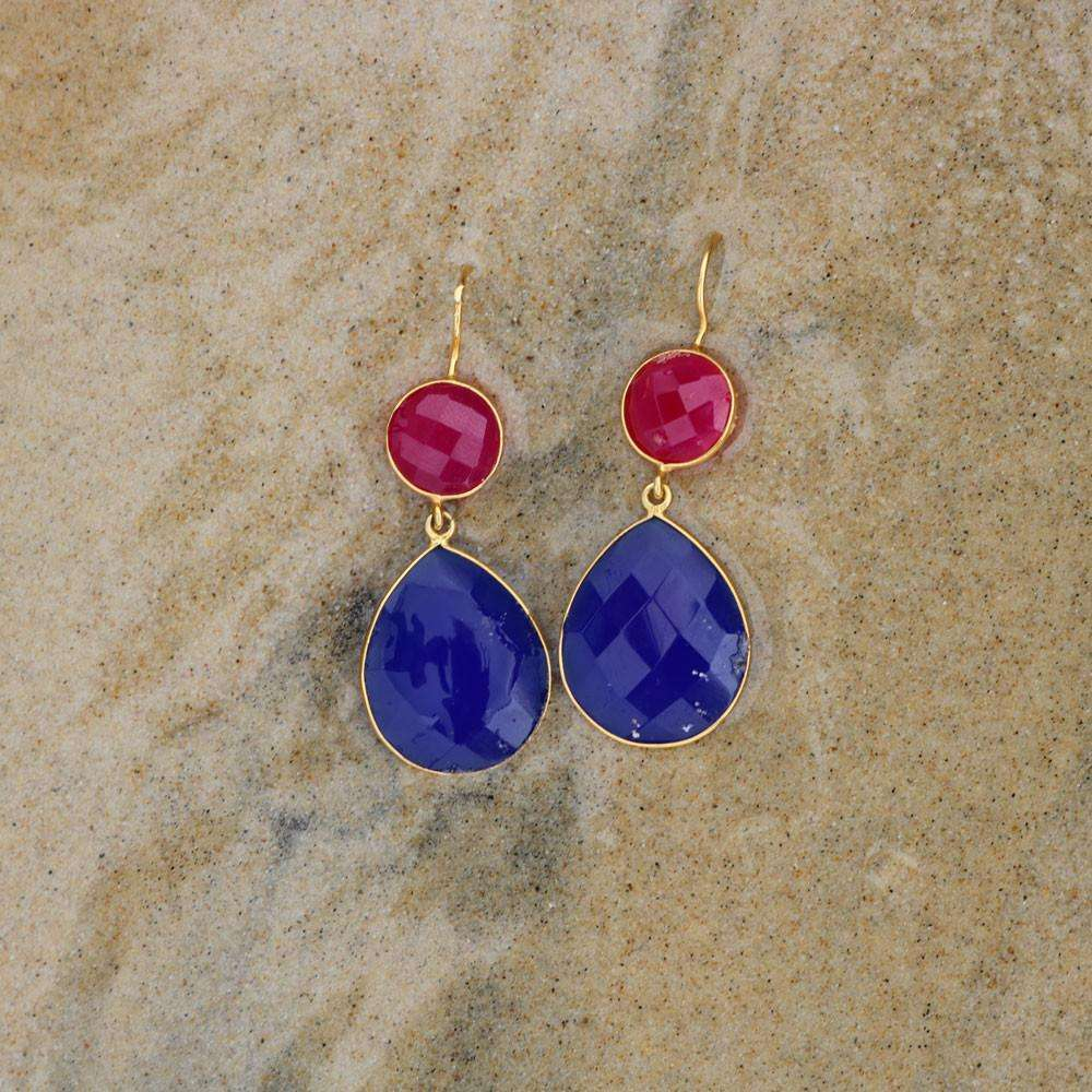 Blue & Fuschia Chalcedony Earrings