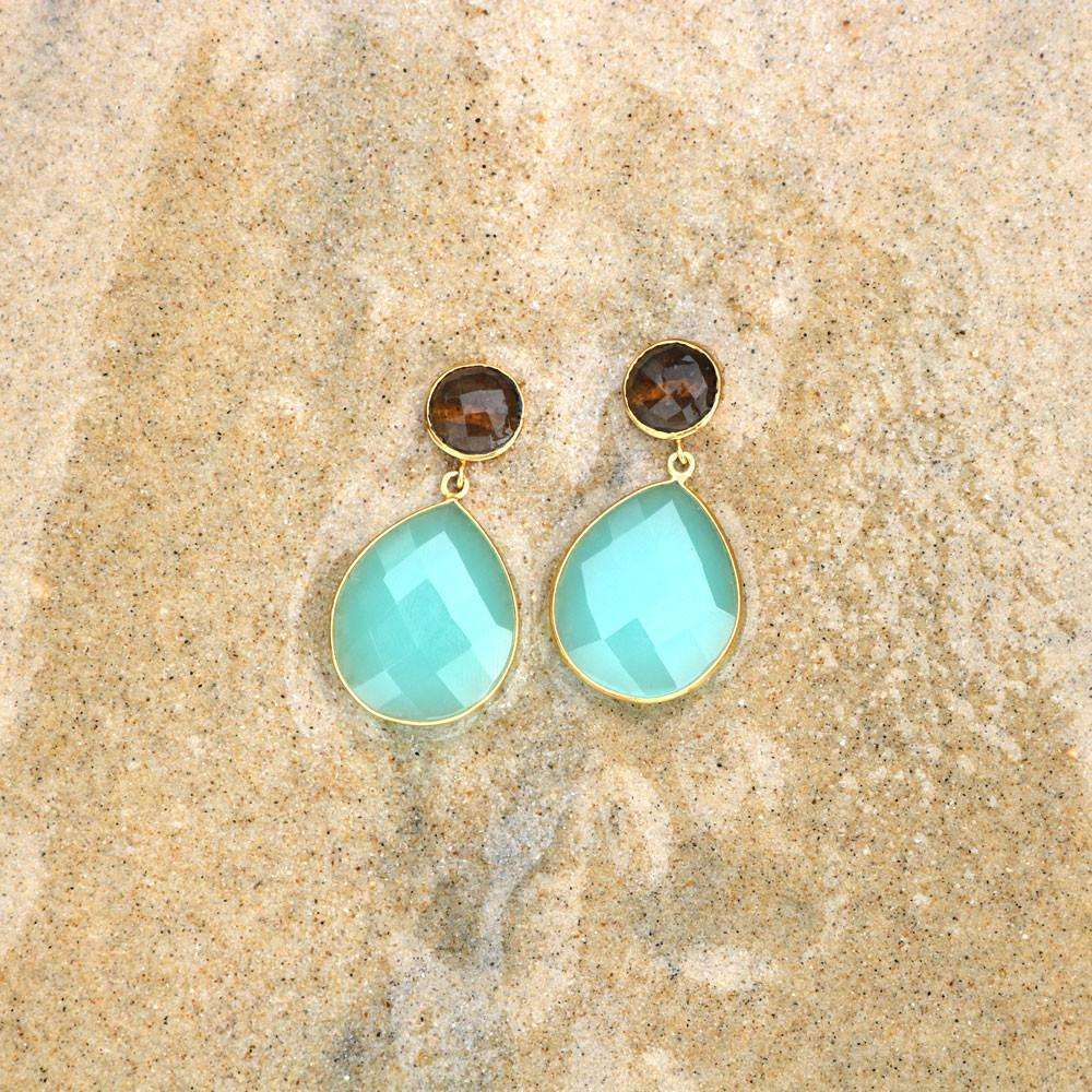 Aqua Chalcedony & Smoky Topaz Earrings