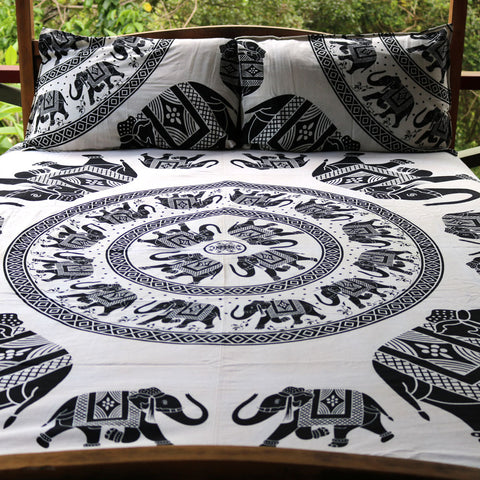 Ragrani Doona Cover Set - Black & White (Queen)