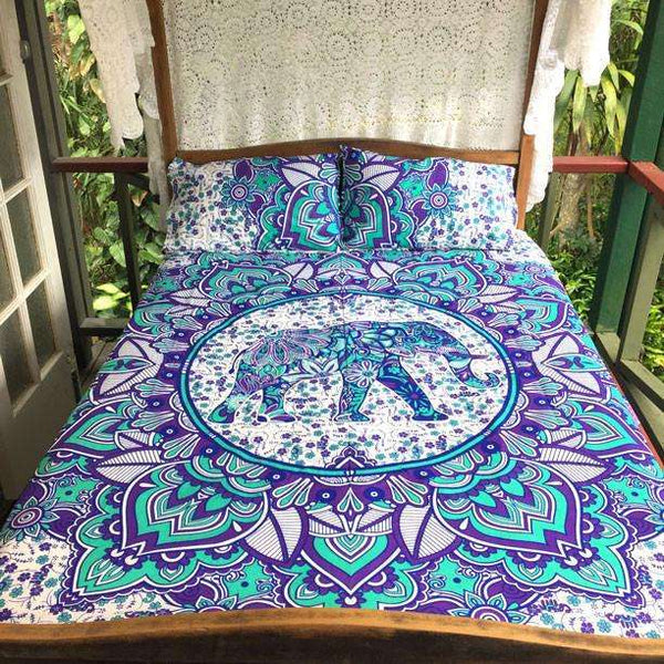 Guloh Mandala Doona Cover Set - Purple & Green (Queen)