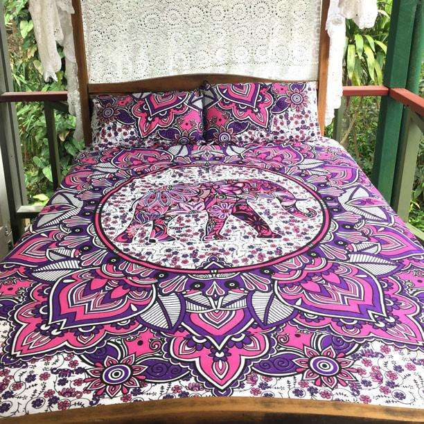 Delara Mandala Doona Cover Set - Purple & Pink (Queen)
