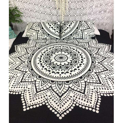 Melara Mandala Doona Cover Set - Black & White (Queen)