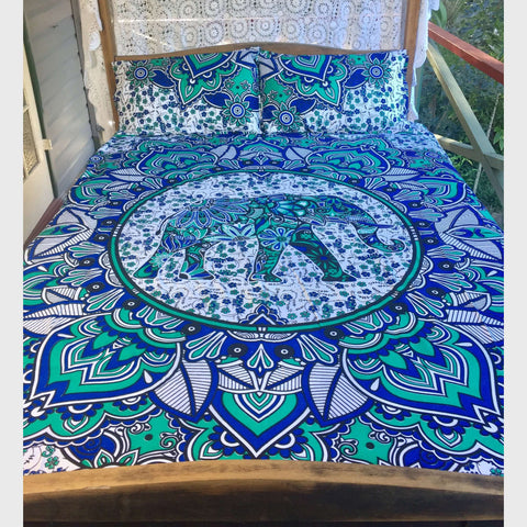 Penchara Mandala Doona Cover Set - Blue & Green (Queen)