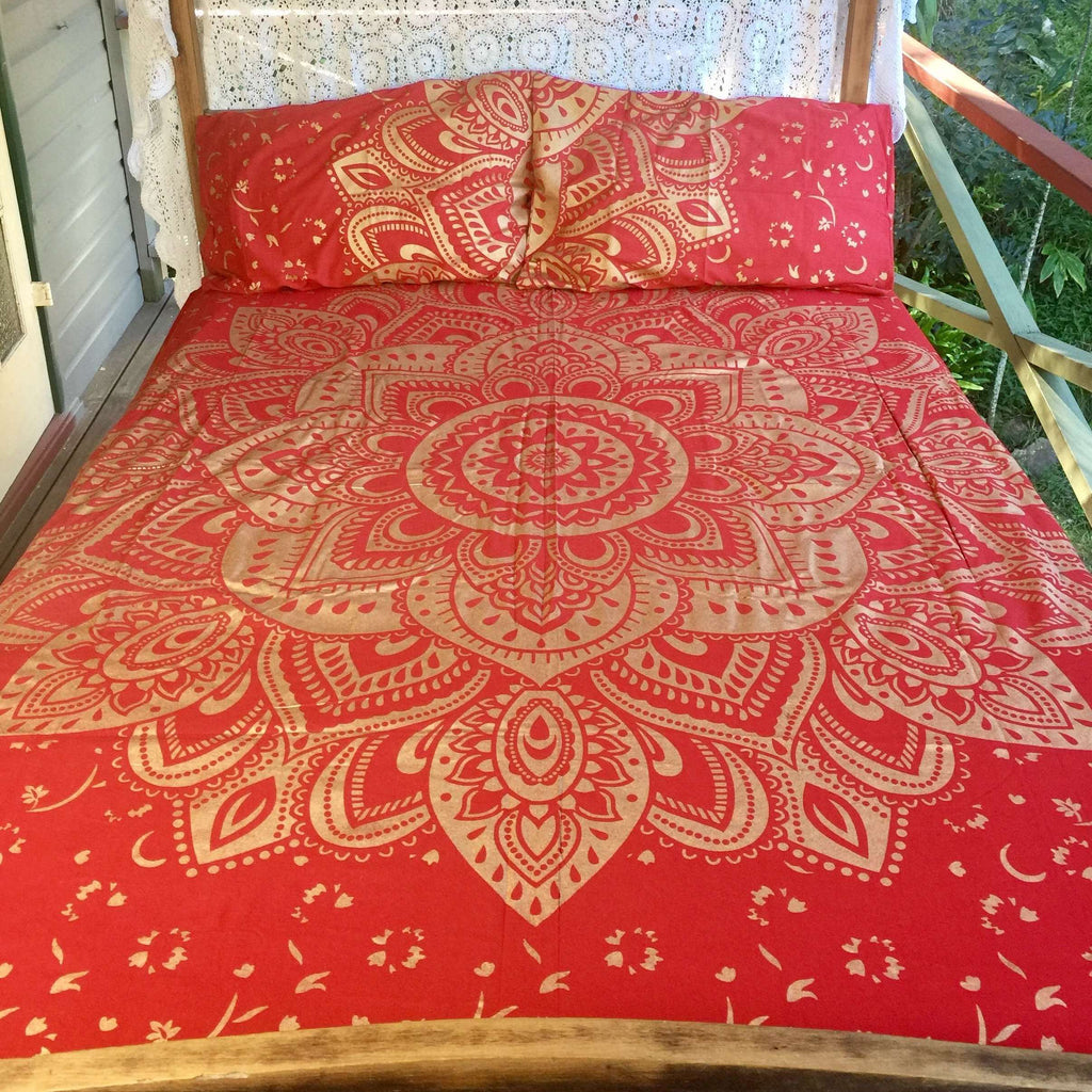 Solara Mandala Doona Cover Set - Red & Gold (Queen)