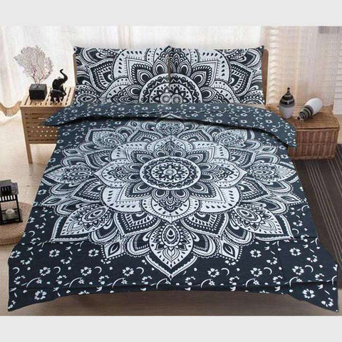 Bokaro Mandala Doona Cover Set - Black & Silver (Queen & King)
