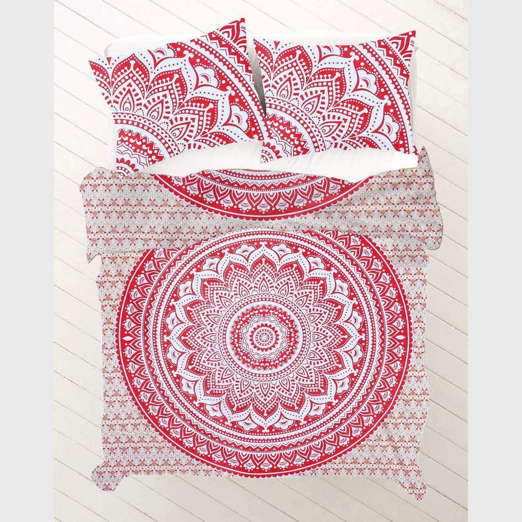 Red & White with Gold Mandala Doona Cover Set (Queen)