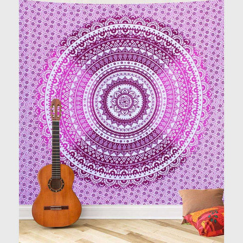 Pink & Purple Ombre Mandala Tapestry