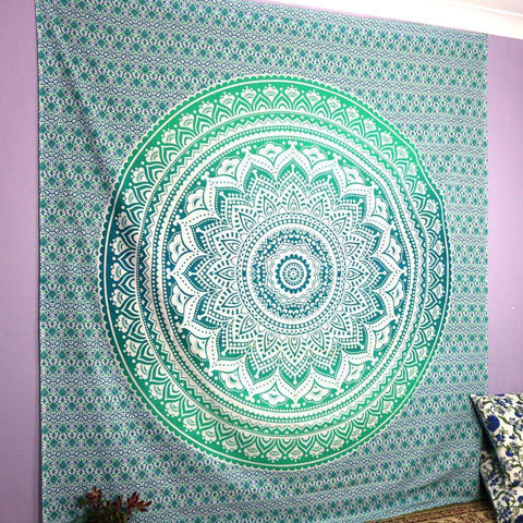 Turquoise Ombre Mandala Tapestry