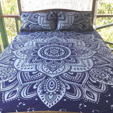 Amroha Mandala Doona Cover Set - Blue & Silver (Queen & King)