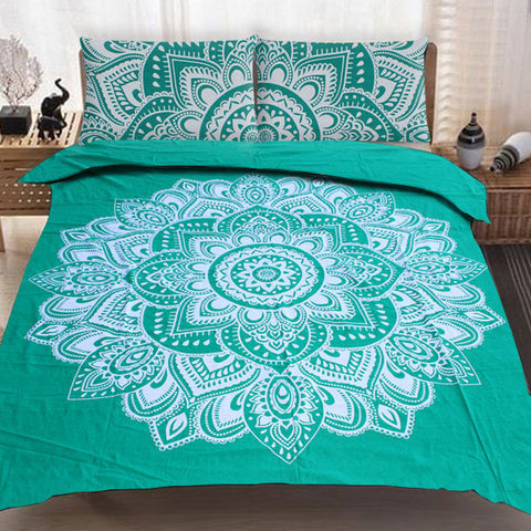Block Green Lotus Doona Cover Set (Queen)