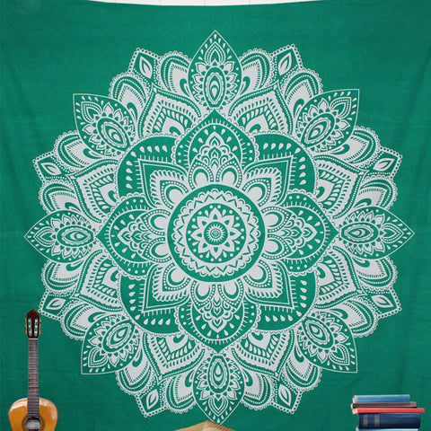 Block Green Lotus Mandala Tapestry