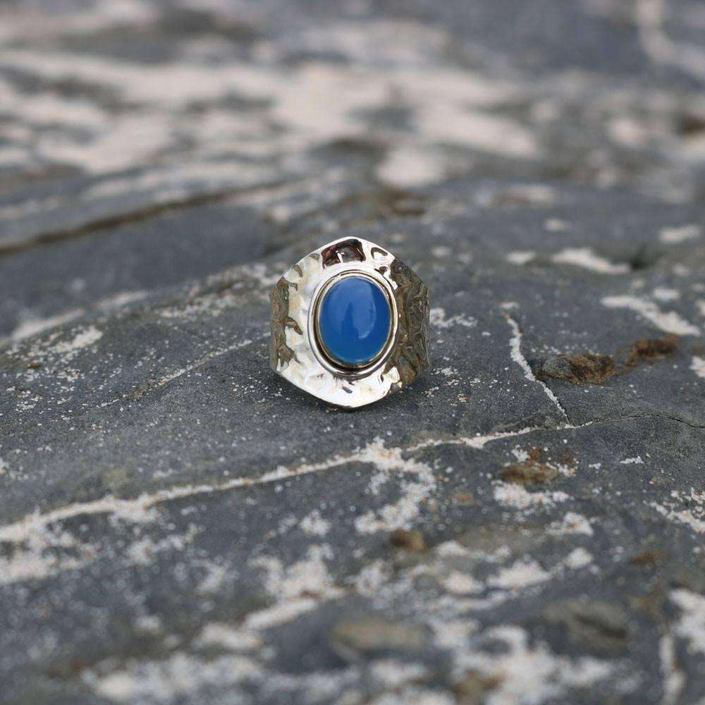Blue Chalcedony Adjustable Silver Ring