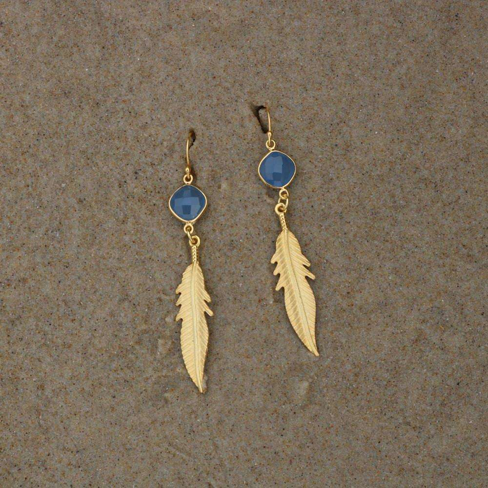 Blue Chalcedony Feather Earrings