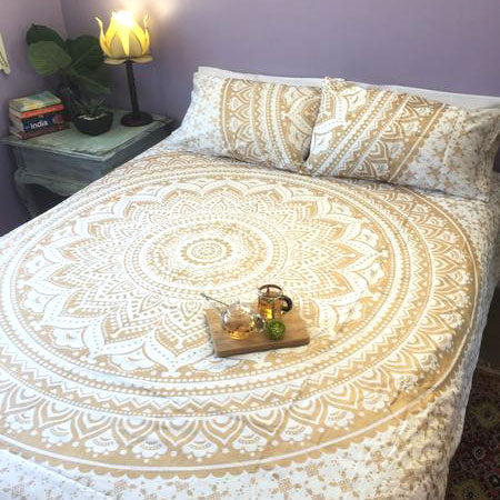 Udaipur Mandala Doona Cover Set - Gold & White (Queen & King)