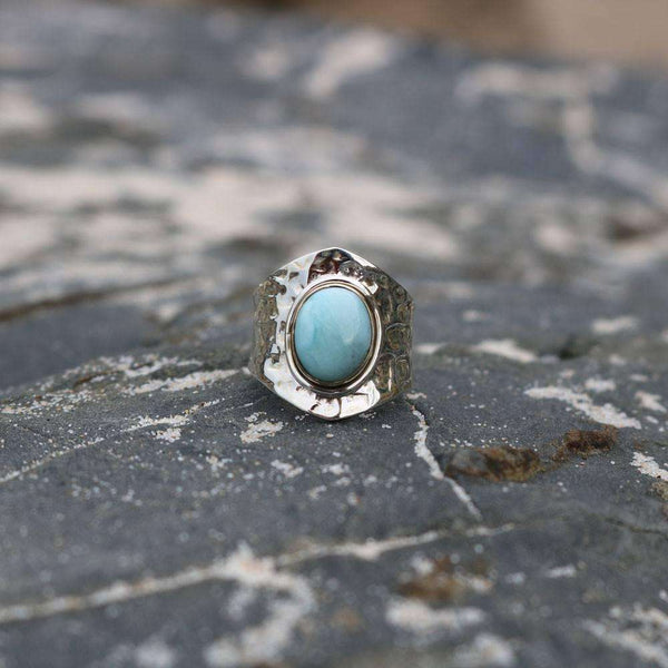 Larimar Adjustable Silver Ring