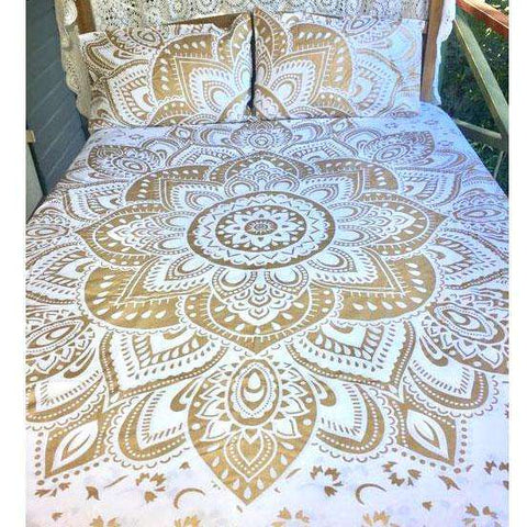 Lotus Mandala Doona Cover Set - White & Gold (Queen & King)