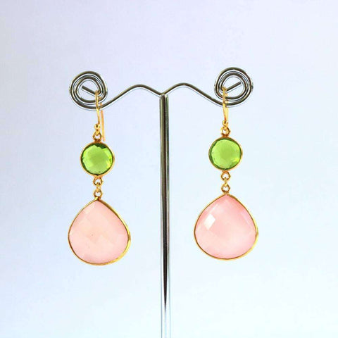 Pink Chalcedony & Hydro Peridot Earrings