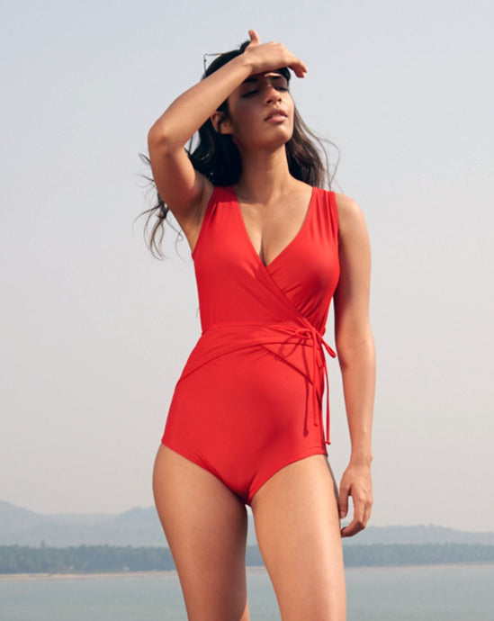 Aiden | Wrap Around One Piece Swimsuit (Red) - NOTH!NG