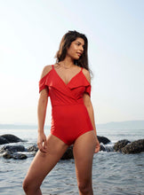 Swimwear India| Red Cold-Shoulder One Piece Swimsuit