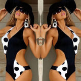 Sexy Push Up Black Dot Elegant High Cut Out Deep V Monokini - Lizachic