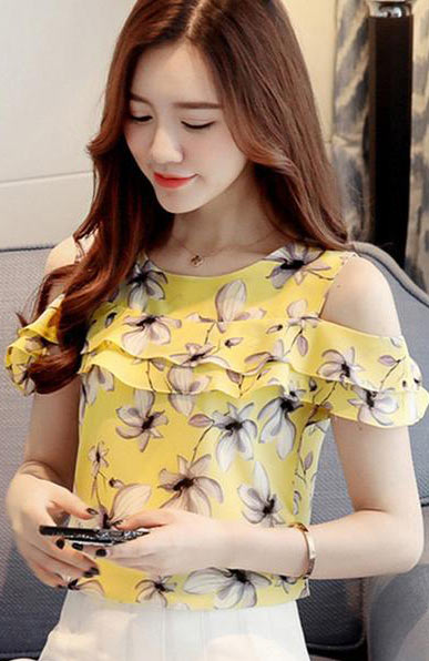 Floral Print Chiffon Off Shoulder Short Sleeve Blouse - Lizachic