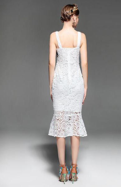 Elegant Spaghetti Strap Hollow out Backless White Lace Bodycon Dress - Lizachic