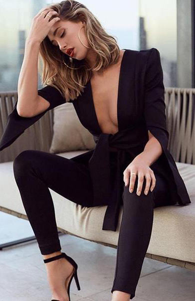 Sexy Deep V Neck Hollow Out Batwing Sleeve Long Jumpsuit - Lizachic