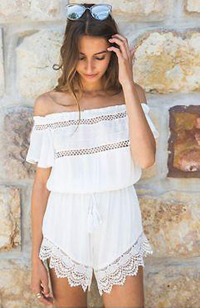 Sexy Beach Off shoulder Lace Shorts Playsuit - Lizachic