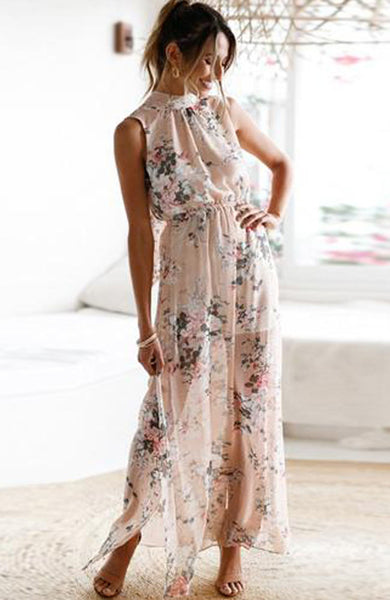 Chiffon Backless Sexy Floral Print Halter Long Dress - Lizachic