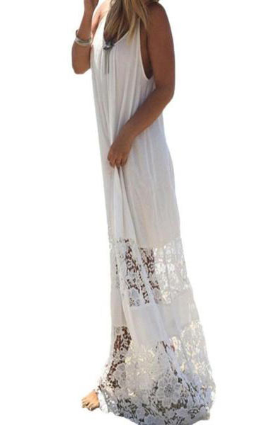 Lace Splice Spaghetti Strap Sleeveless Loose Boho Beach Long Dress - Lizachic