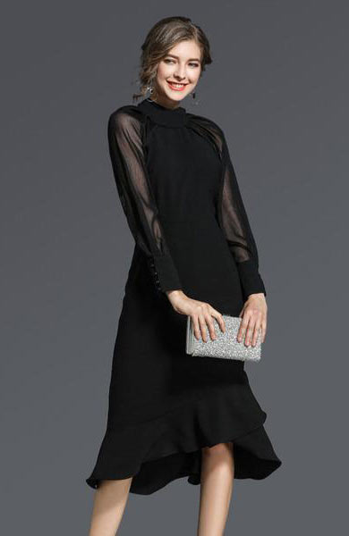 Elegant Women Long Mesh Sleeve Back Zipper Mid Calf Dress - Lizachic