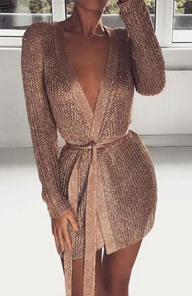 Sexy Shimmer Metallic Crochet Knit Deep V Neck Long Sleeved Buttocks Mini Dress - Lizachic