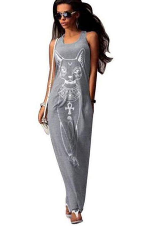 Cat Print Long Maxi Boho Dress - Lizachic