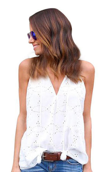 Hollow Out Sleeveless V-Neck Casual Blouse - Lizachic
