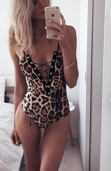Leopard Pattern Lace Up Sexy Sleeveless V-neck Bodysuit - Lizachic