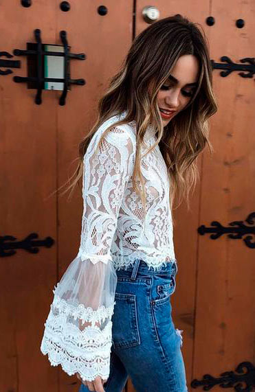 New Style Bell Sleeve Laced Crop Top Blouses - Lizachic