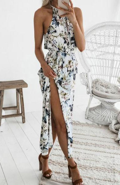 Elegant Floral Sexy Halter Neck Sleeveless Boho Long Dress - Lizachic