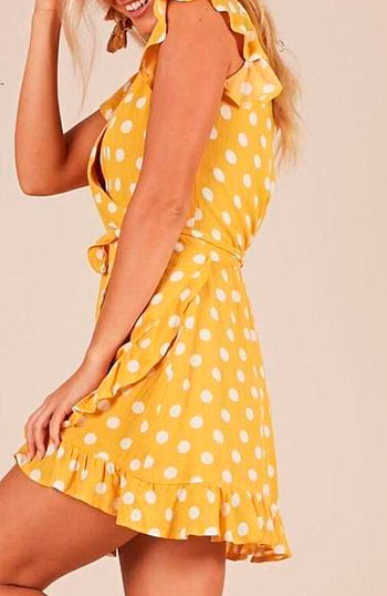 Polka Dot Bow Tie Deep V Neck Short Sleevs Boho Dress - Lizachic