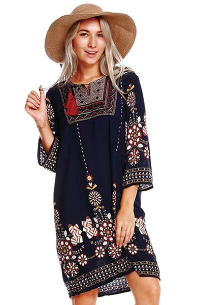 Floral Print Boho Embroidered Vintage Dress - Lizachic
