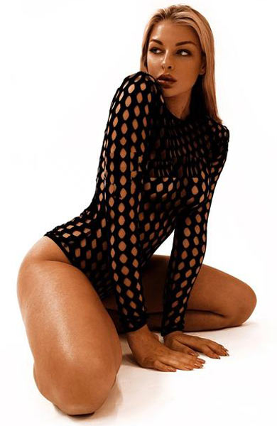 Sexy Chic Black Fishnet Long Sleeve Women Bodysuit Swimsuit - Lizachic