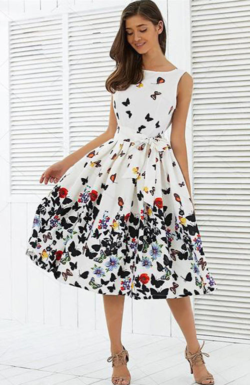 Butterfly Floral Sleeveless Zipper Pleat Swing Dress - Lizachic
