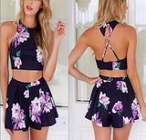 Floral Elegant Hot High Waist Shorts Backless Tops Bodysuit - Lizachic
