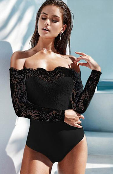 Sexy Elegant Lace Off Shoulder Bodysuit - Lizachic