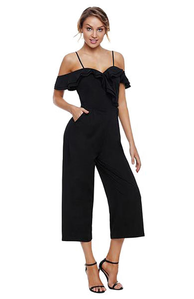Off Shoulder Strap Ruffle Neckline Jumpsuit With Pockets - Lizachic